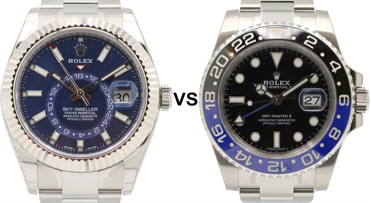 Fake Rolex Watches With Dual Time Zone Sky-Dweller VS GMT-Master II