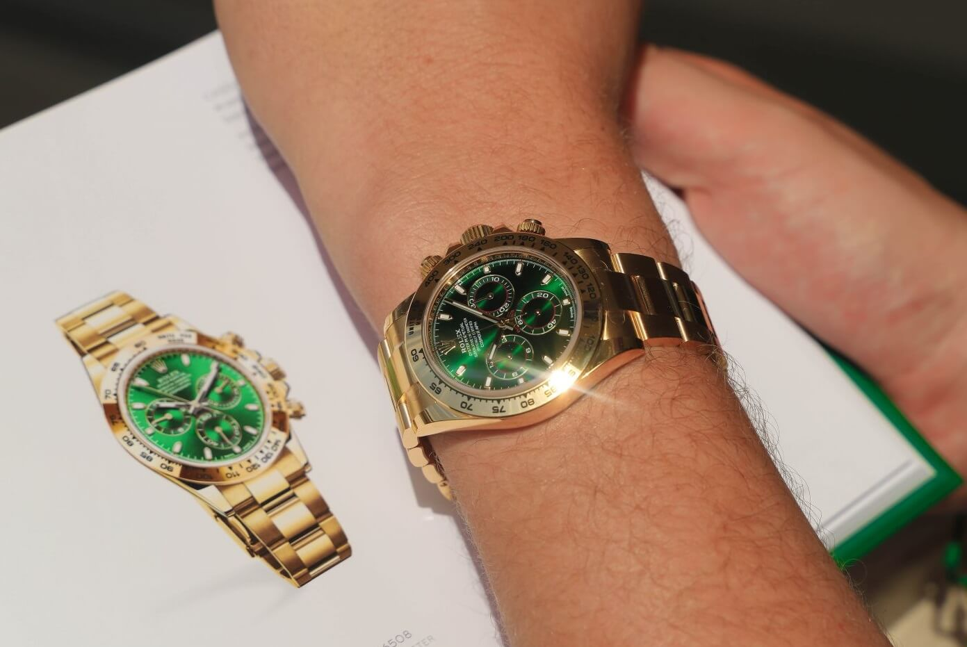 Rolex Daytona Replica 116508 Green Dial 18k Yellow Gold